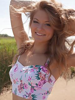 schoolgirl on beach